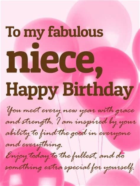 to a fabulous niece happy birthday wishes card: a little