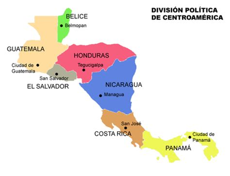 central america map with states and capitals political division of central america 2007
