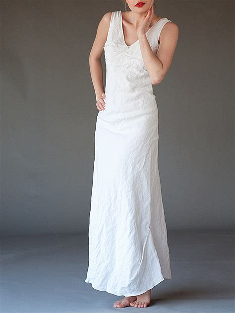 White Linen Wedding Dresses by Beaded Length White Dress Evening And Bridal