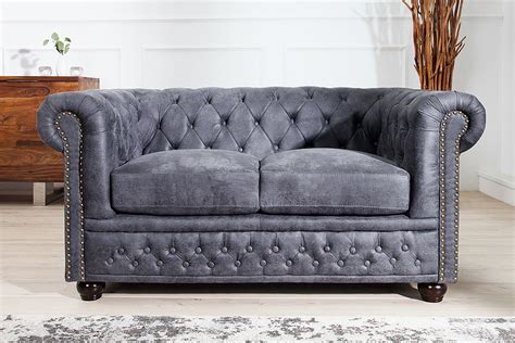 chesterfield sofa antik grau polstersofa sofagarnitur