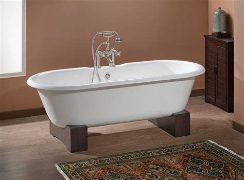 bb bathtub cheviot 2128 bb 7 biscuit cast iron bathtub with wooden