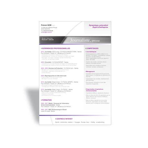Modèle Mise En Page Cv by Resume Format Mod 232 Le Cv Journaliste