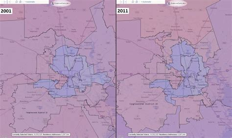 houston map comparison congressional districts comparison 2001 2011
