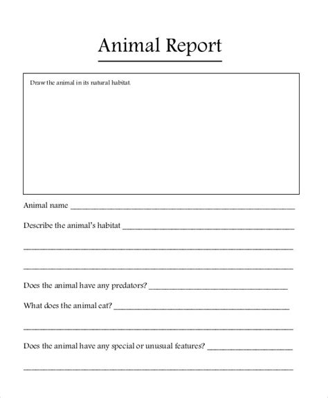 animal report template 9 animal report templates free sle exle format