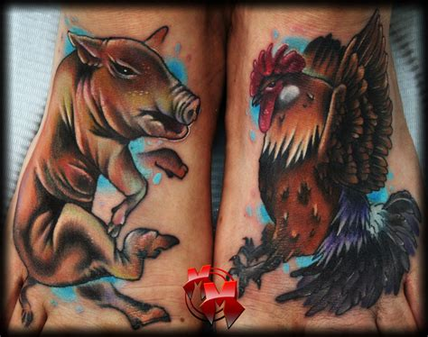 rooster and pig tattoo pig and rooster tattoos by mattiemacabre on deviantart