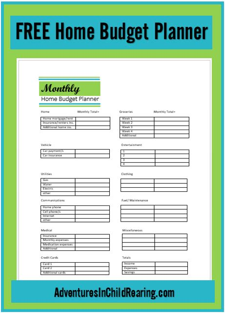 home planner 6 best images of budget printable home planner free