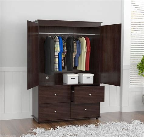 Bedroom Set With Wardrobe Closet - wardrobe closet bedroom armoire 4 drawer 2 door furniture