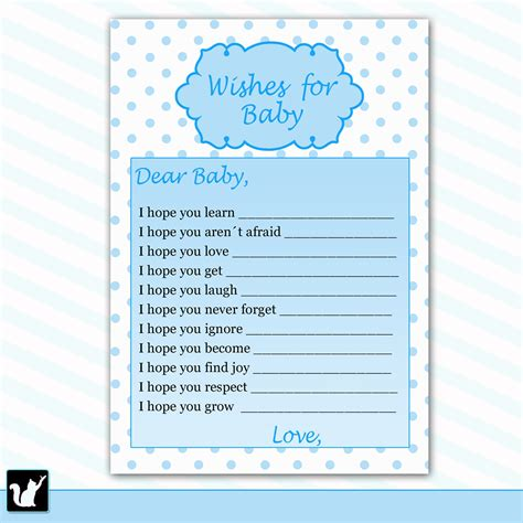 baby wish cards template printable polka dots wishes for baby card baby shower