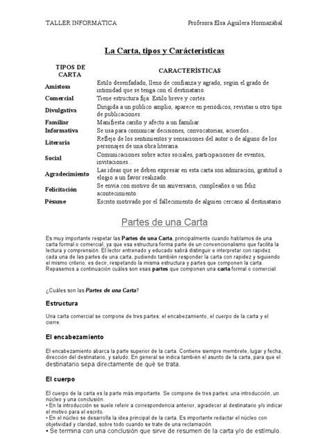 La Carta Formal Pdf la carta tipos y car 225 cter 237 sticas