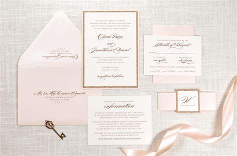 ivory wedding invitations gold glitter blush shimmer and ivory wedding
