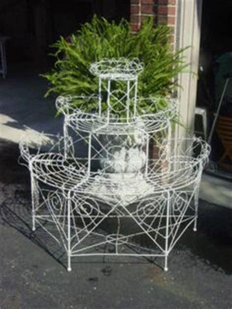 Flower Stand Ferris Gold vintage white wrought iron spinning ferris wheel planter plant stand ebay iron work