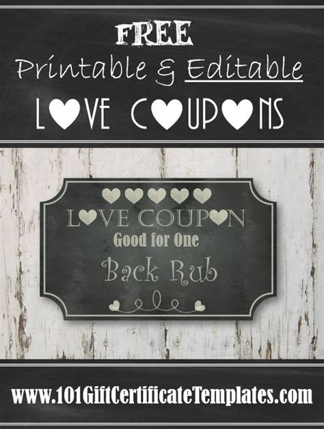 Free Editable Love Coupons For Him Or Her Editable Coupon Template