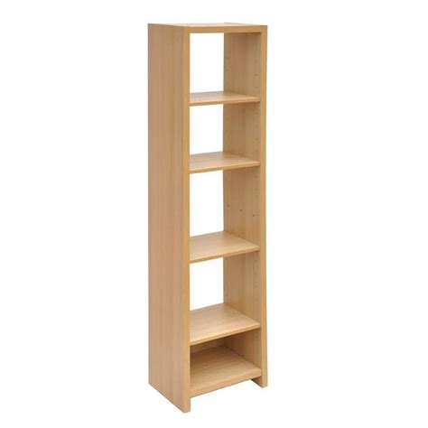 narrow storage unit oak finish shelving