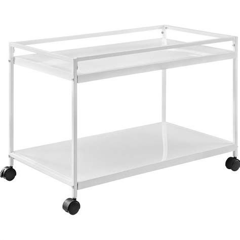 marshall 2 shelf rolling coffee table cart in white