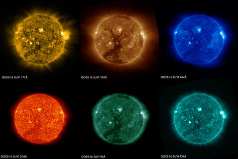 the color of the sun images of the sun from the goes 16 satellite nasa