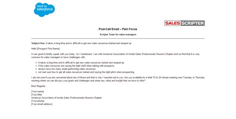 Great Sales Email Templates by Sales Email Exles Salesscripter