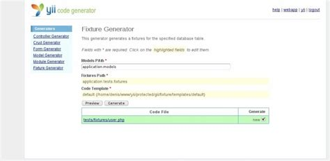 yii phpunit tutorial generator4fixtures extension yii php framework
