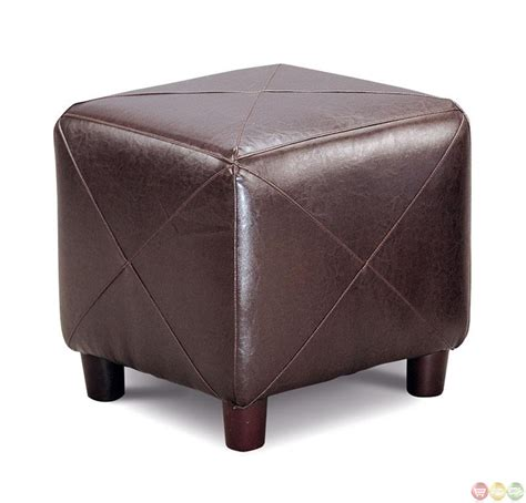 ottoman construction brown faux leather upholstery contemporary cube ottoman