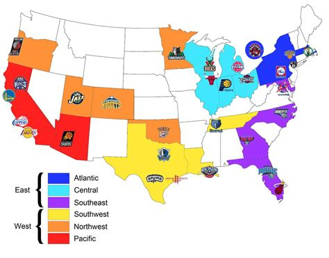 nba usa map map of all the nba teams organised by conference and