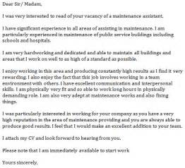 maintenance assistant cover letter example learnist org