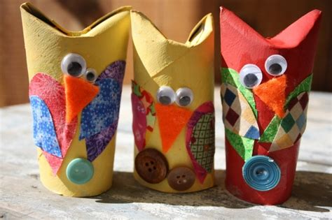 adorable owl craft with tp rolls and fabric scraps