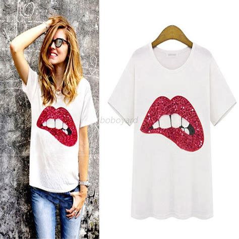 Cy50829 T Shirt Top Blouse Printed Import print sleeve t shirt crew neck casual white blouse tops ebay
