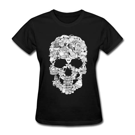 design art t shirt t shirt women casual clip art skull design own short