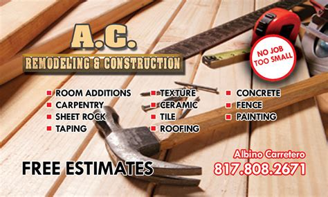 home remodeling business cards pacq co