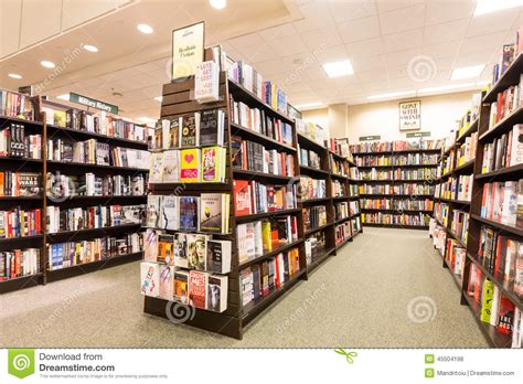 bookshelves in a barnes noble bookstore editorial stock
