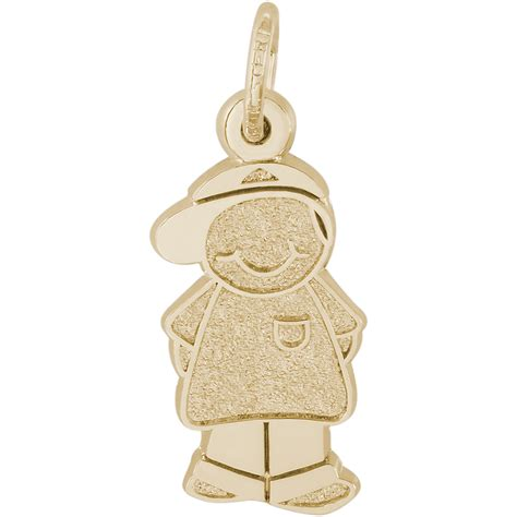 boy with baseball cap charm 10k gold