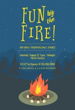 Bonfire bug   Free Printable Party Invitation Template