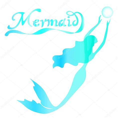 swimming mermaid with curly hair
