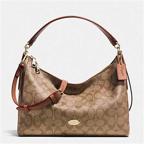 Coach Celeste Hobo Sign Khaki Chalk 2 coach f34899 east west celeste convertible hobo in signature light gold khaki saddle coach
