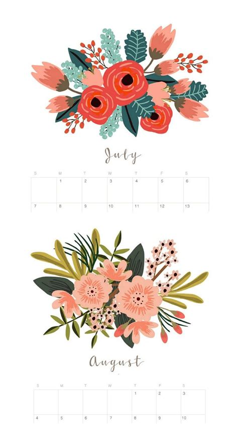 beautiful floral  calendar monthly planner  printables calendar design floral
