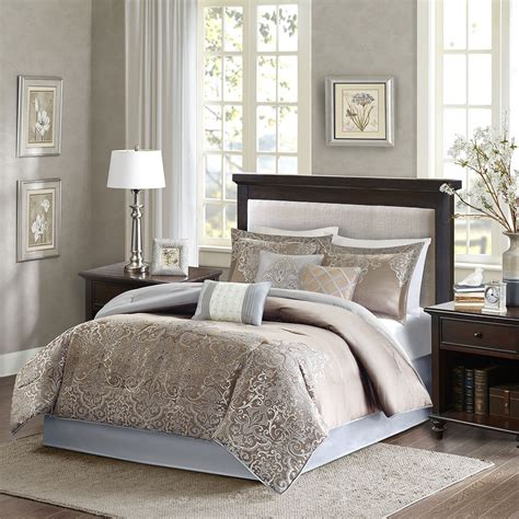 Silver And Gold Bedding Sets Beautiful Modern Rich Blue Grey Taupe Silver Gold Brown Comforter Set Ebay