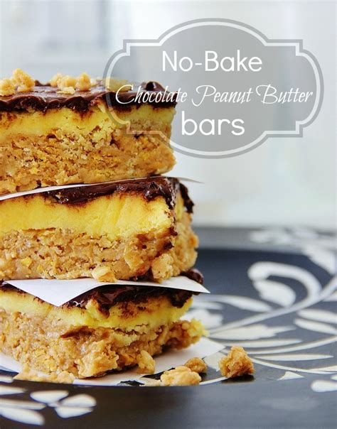 no bake peanut butter bars with chocolate on top no bake chocolate peanut butter bars and a linky party