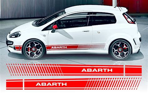 fiat punto evo style abarth side stripe decals stickers