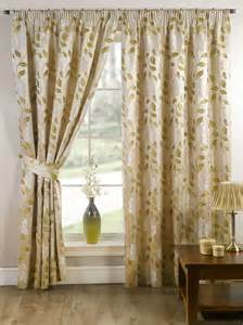 Moss Curtain Stylish Pencil Pleat Tape Top Lined Flower Pattern Pair Of
