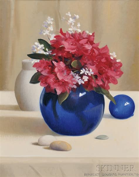 Blue Vase With Flowers by Robert Douglas American 1928 2014 Still