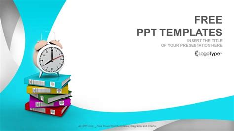 free of powerpoint templates alarm clock and books education ppt templates