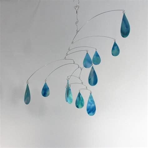 hanging art hand made cool rain art mobile hanging kinetic sculpture