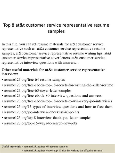 top 8 at t customer service representative resume sles