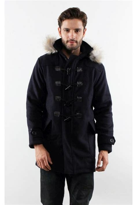Jaket Pria Portgas Navy Populer Korea navy detachable hooded coat winter coat