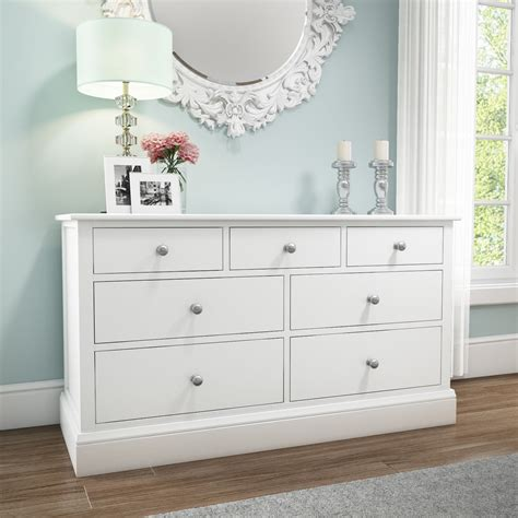 White Chest Of Drawers Solid Wood by Solid Wood 4 3 Wide Chest Of Drawers In White