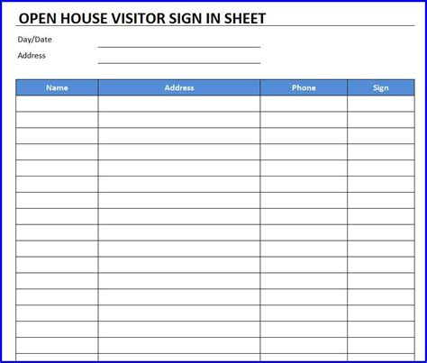 open house sign in sheet template free excel templates
