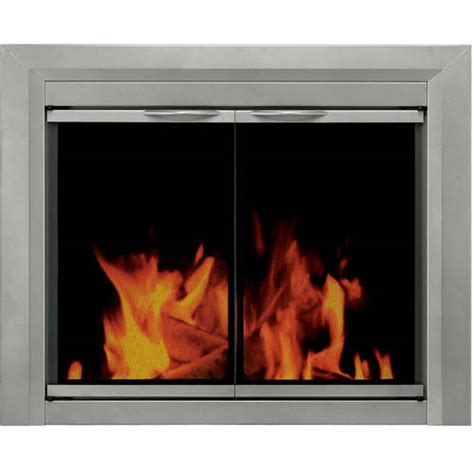 pleasant hearth nickel cabinet style fireplace glass door