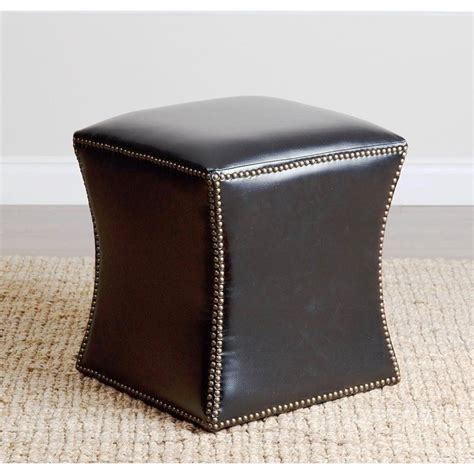 leather nailhead ottoman elliot leather nailhead trim ottoman in black hs ot 1050 blk