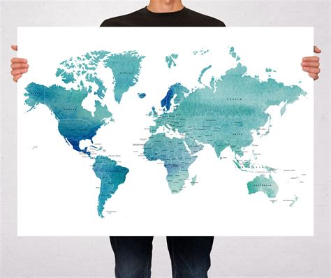 printable world map art world map blue watercolor art print poster countries names