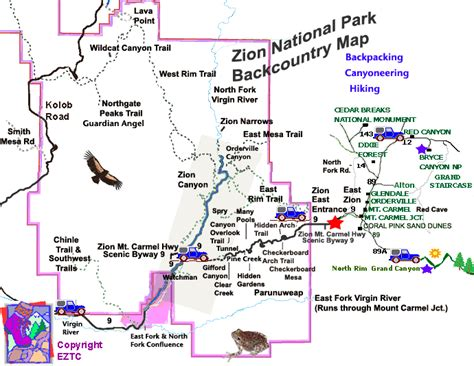 printable map of zion national park zion national park backcountry map backcountry map zion