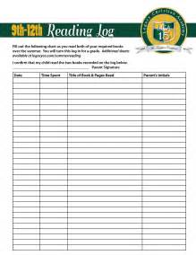 4th grade reading log template daily reading log for high school students rethinking
